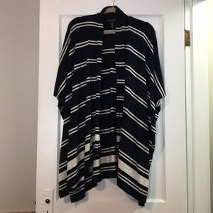 Poncho - navy blue and white striped